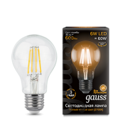 Лампа Gauss LED Filament A60 E27 6W 2700К 1/10/40
