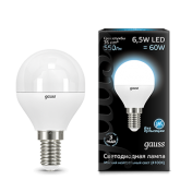 Лампа Gauss LED Globe E14 6.5W 4100K 1/10/50