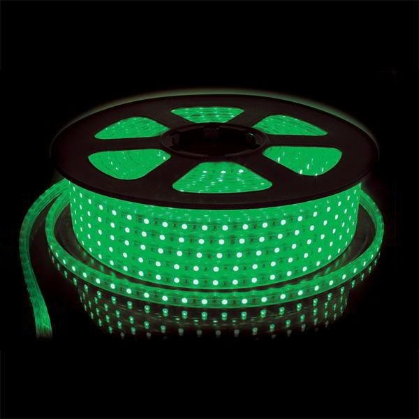 Ecola LED strip 220V STD  4,8W/m IP68 12x7 60Led/m Green зеленая лента  10м.