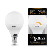 Диммируемая Лампа Gauss LED Шар-dim E14 7W 560lm 3000К