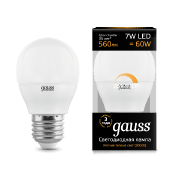 Диммируемая Лампа Gauss LED Шар-dim E27 7W 560lm 3000К