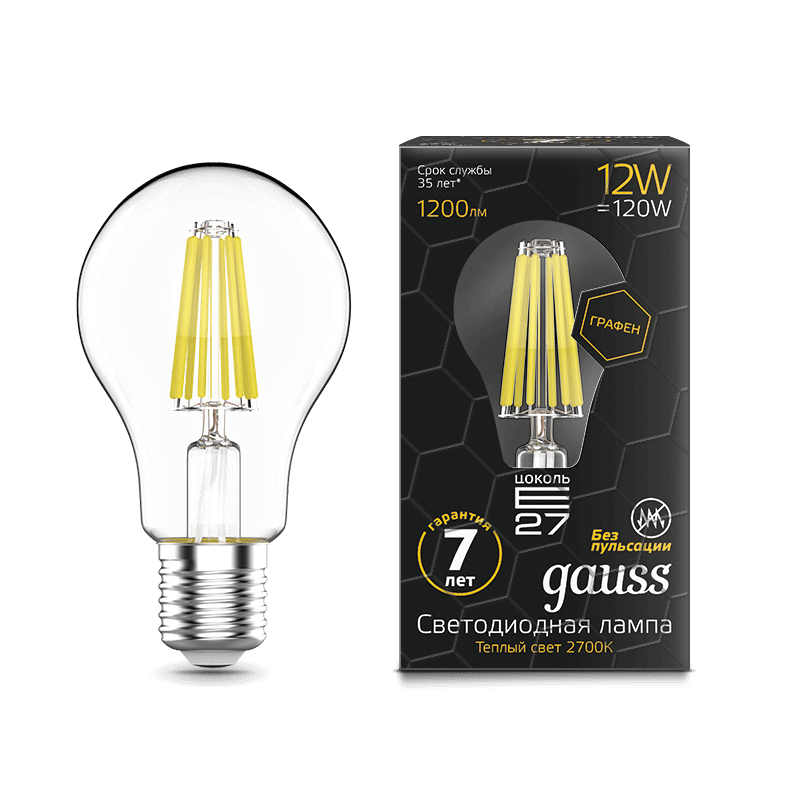 Лампа Gauss LED Filament Graphene A60 E27 12W 1200lm 2700К
