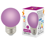 LED-G45-1W/PURPLE/E27/FR/С